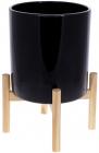 """Кашпо керамическое """"Флора"""" на бамбуковой подставке 20х20х37.3см, черный глянец"""