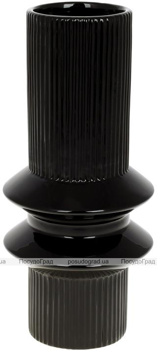 """Ваза керамічна """"Stone Flower"""" 12.6х12.6х28см, чорний"""