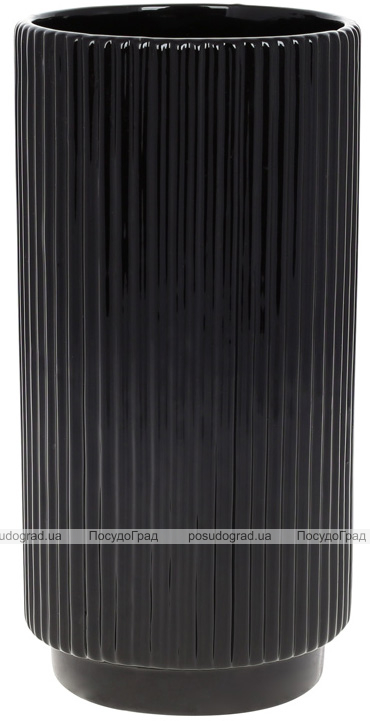 """Ваза керамічна """"Stone Flower"""" 12х12х23.5см, чорний"""