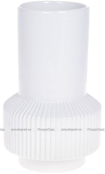 """Ваза керамічна """"Stone Flower"""" 13.6х13.6х22.2см, білий"""