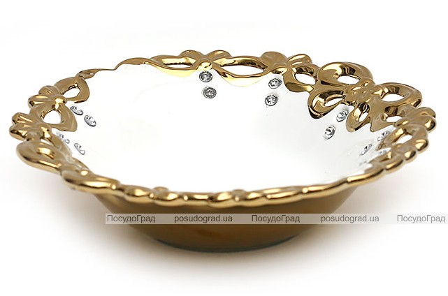 "Блюдо ""Жар-птица"" Gold Luxury-01 Ø31x8см с декоративными стразами"