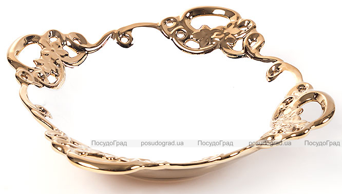 "Блюдо для фруктов ""Жар-птица"" Gold Luxury-03 Ø32х9см с декоративными стразами"