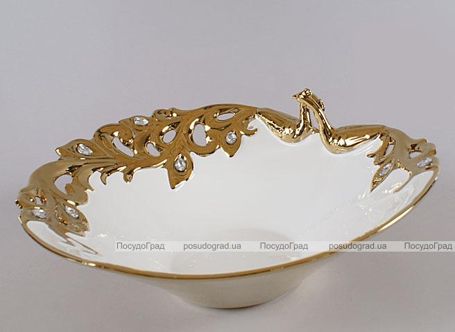 """Блюдо """"Жар-птица"""" Gold Luxury-04 32х30х14см с декоративными стразами"""