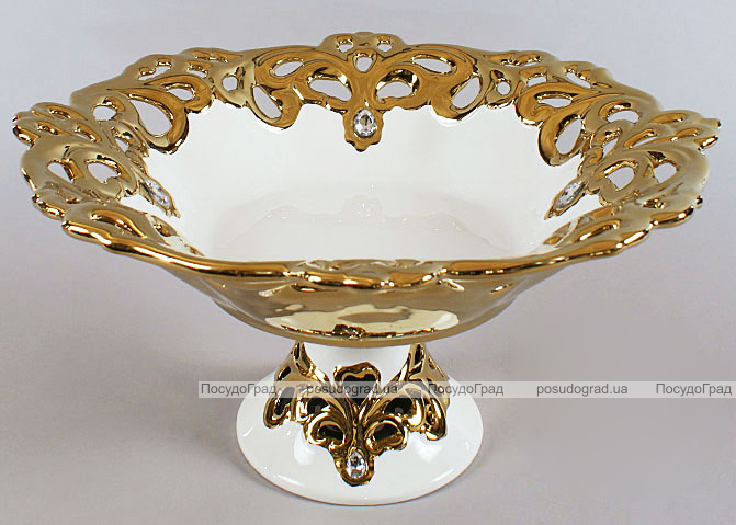 """Блюдо для фруктов """"Жар-птица"""" Gold Luxury-05 Ø34см с декоративными стразами"""