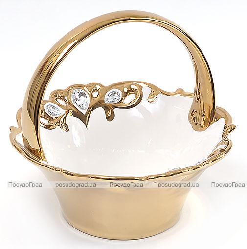 """Конфетница """"Перо жар-птицы"""" Gold Luxury-18 Ø24см с декоративными стразами"""