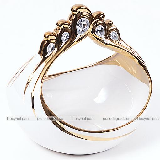 """Конфетница """"Перо жар-птицы"""" Gold Luxury-20 23см с декоративными стразами"""