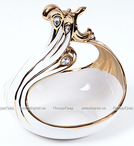 """Конфетница """"Перо жар-птицы"""" Gold Luxury-21 27см с декоративными стразами"""