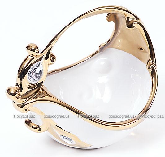 """Конфетница """"Перо жар-птицы"""" Gold Luxury-22 21см с декоративными стразами"""
