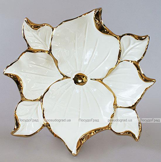 """Менажница """"Перо жар-птицы"""" Gold Luxury 39см с декоративными стразами"""