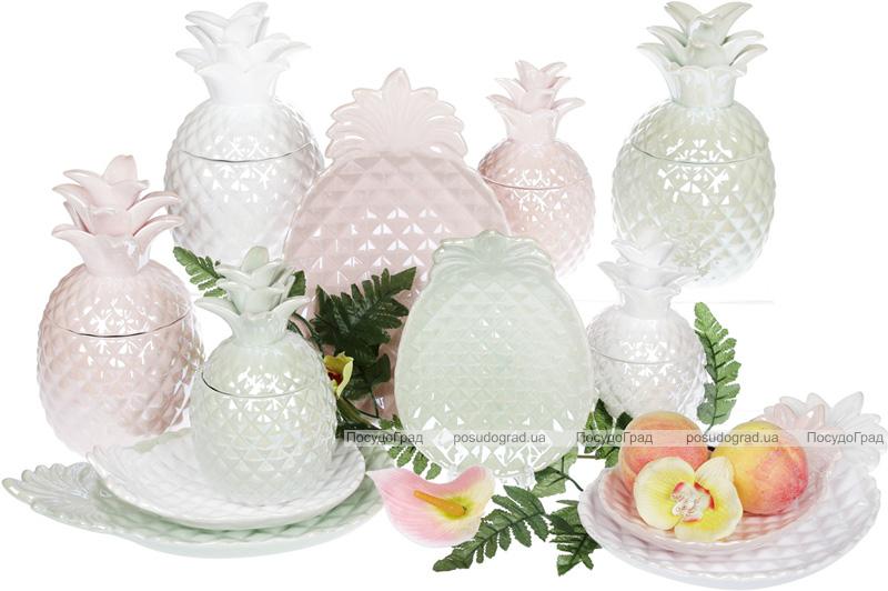 """Набір 2 блюда """"Ананас"""" 20.6х14.8см, керамічні, рожевий перламутр"""