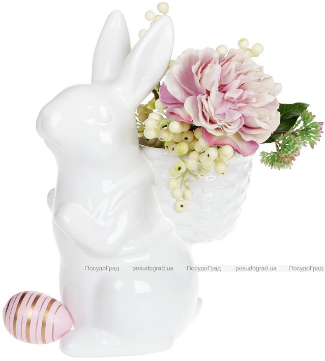 """Статуетка керамічна """"Розумний кролик"""" 19х11.9х26см з міні-кашпо"""