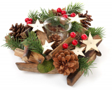 Подсвечник новогодний стеклянный с декором из шишек, ягод и звезд