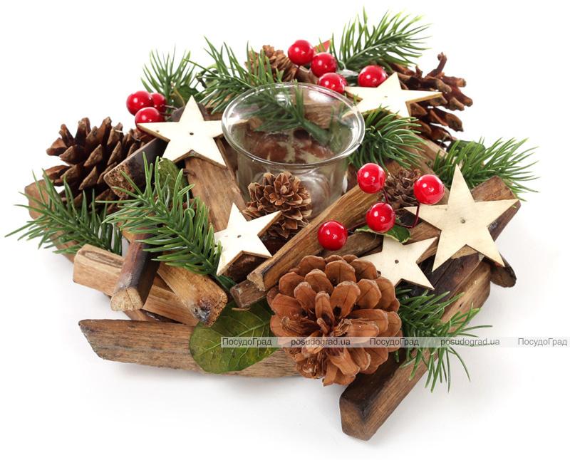Підсвічник новорічний скляний з декором з шишок, ягід і зірок