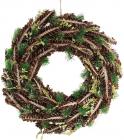 """Новогодний декоративный венок """"Зеленые ветки"""" Ø40см с натуральными шишками"""
