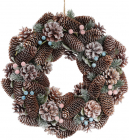 """Декоративний вінок """"Шишки та ягоди"""" Ø40см з натуральними шишками"""