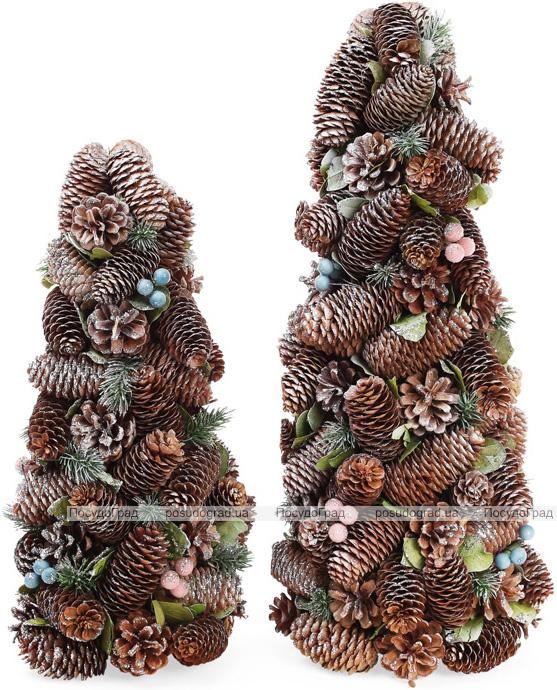 """Декоративна ялинка """"Шишки та ягоди"""" 38см з натуральними шишками"""