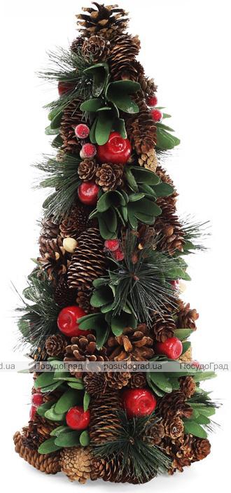 """Декоративная елка """"Зеленые листики"""" 48см с натуральными шишками"""