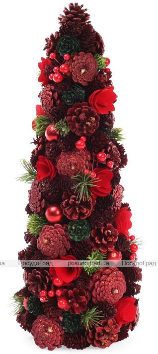 """Декоративная елка """"Красная шишка"""" 48см с натуральными шишками"""