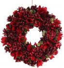 """Декоративный венок """"Красные цветы"""" Ø35см с натуральными шишками"""