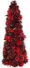"""Декоративна ялинка """"Червоні квіти"""" 48см з натуральними шишками"""