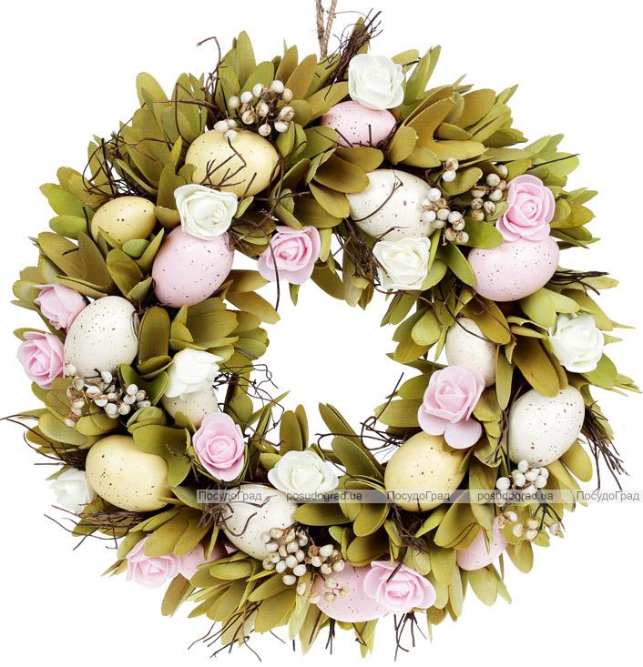 """Венок пасхальный """"Розовые Розы"""" Ø37см"""