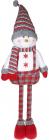 """М'яка іграшка """"Сніговик в комбінезоні"""" 12х28х48см, білий з червоним"""