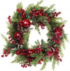 """Новогодний декоративный венок из ягод """"Сочный гранат"""" Ø60см"""