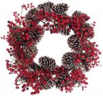 Новорічний декоративний вінок з червоних ягід з шишками Ø60см
