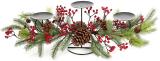 """Підсвічник новорічний """"Червоні ягоди з шишками"""" на 3 свічки"""