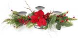 """Подсвечник новогодний """"Хвоя с красными ягодами"""" на 3 свечи"""