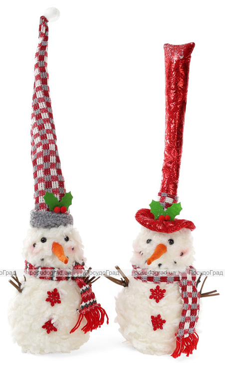 """Новогодняя мягкая игрушка """"Снеговик в шапке"""" 16х16х35см"""