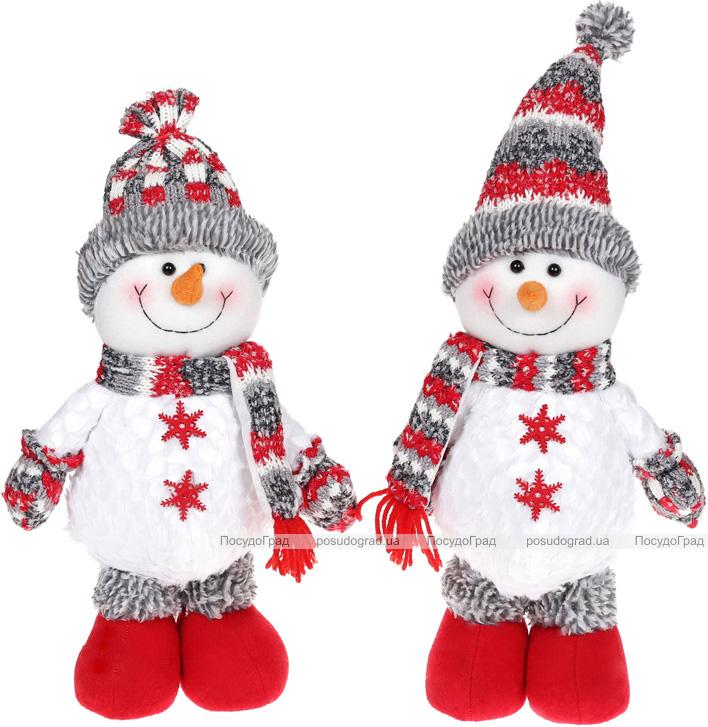 """М'яка іграшка """"Сніговик"""" 38см, білий, сірий, червоний, 2 дизайну"""