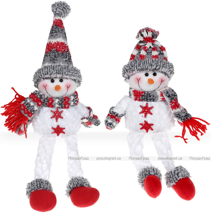 """М'яка іграшка """"Сніговик"""" 44см, білий, сірий, червоний, 2 дизайну"""