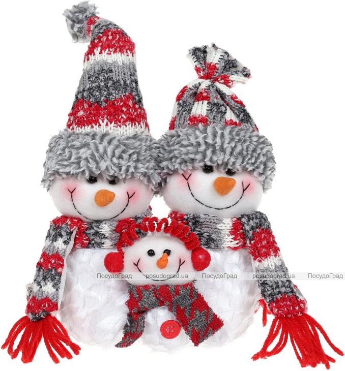 """Мягкая игрушка """"Семья Снеговиков"""" 32см, белый, серый, красный"""