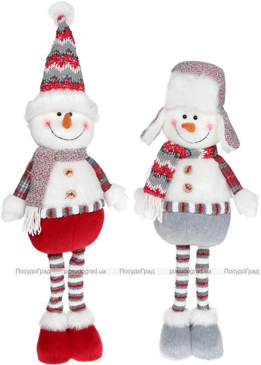 """М'яка іграшка """"Сніговик"""" 56см, білий, сірий, червоний, 2 дизайну"""