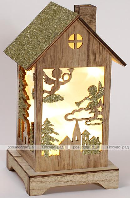 """Новорічний ліхтарик """"Дерев'яний будиночок"""" з LED-підсвіткою 15х13.5х26см"""