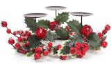 """Подсвечник """"Красные ягоды"""" на 3 свечи, 35см"""