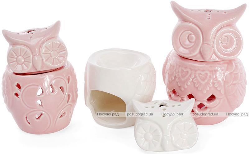 "Набор 4 арома-лампы ""Сова"" 6.8х6.5х10.3см, белый фарфор"