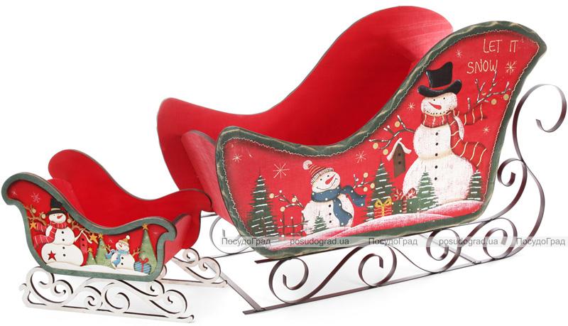 """Декоративные сани """"Снеговики"""" 34.5см деревянные, красные"""