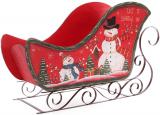"""Декоративні сани """"Let it snow"""" 73см дерево + метал, червоні"""