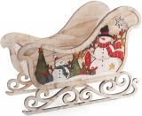 """Декоративні сани """"Сніговики"""" 63.5см дерев'яні"""