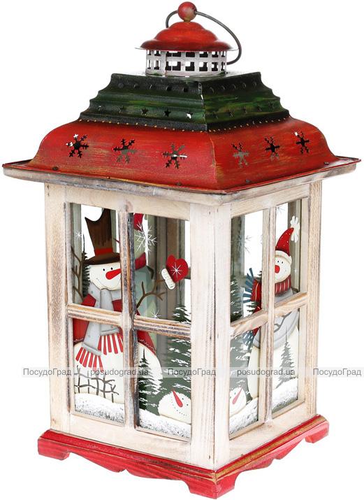 """Новогодний фонарь-подсвечник """"Снеговики"""" 23.5х23.5х42см, красный с белым"""