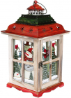"""Новорічний ліхтар-свічник """"Сніговики"""" 23.5х23.5х42см, червоний з білим"""