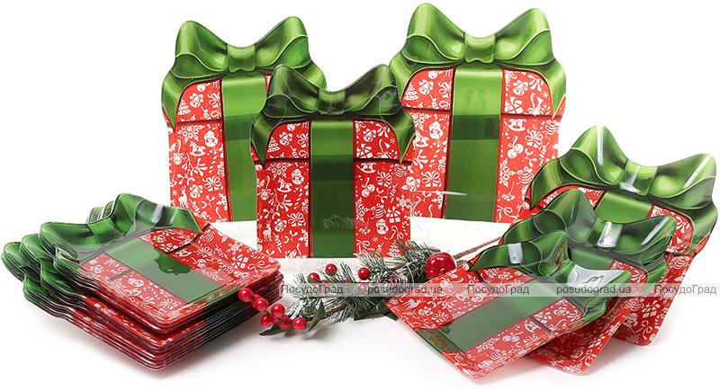 """Набор 6 новогодних стеклянных тарелок """"Подарок"""" 22х26см"""