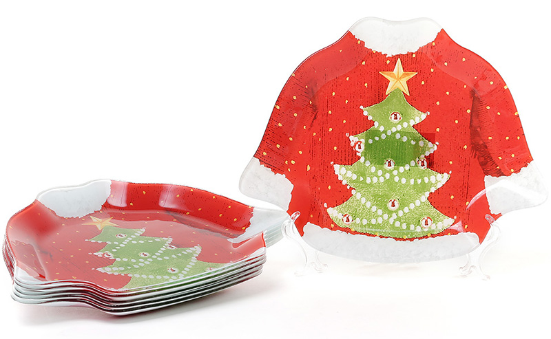 """Набор 6 новогодних тарелок """"Свитер Деда Мороза"""" Ø20см, стеклянные"""