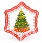 """Набор 6 новогодних тарелок """"Снежинка"""" Ø20см, стеклянные"""