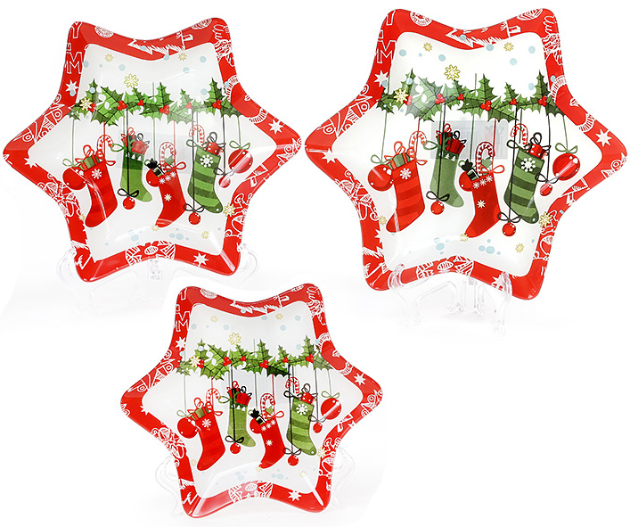 """Набор 6 новогодних тарелок """"Снежинка"""" Ø25см, стеклянные"""