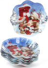 """Набор 6 новогодних стеклянных тарелок """"Мишки"""" Ø23см"""