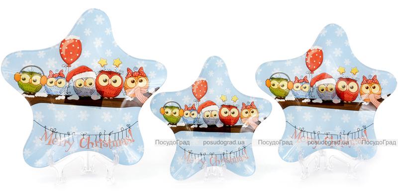 """Набор 6 новогодних стеклянных тарелок """"Совушки"""" Ø26см"""