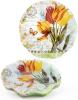 """Набор 6 стеклянных тарелок """"Букет тюльпанов"""" Ø30см, подставные тарелки"""
